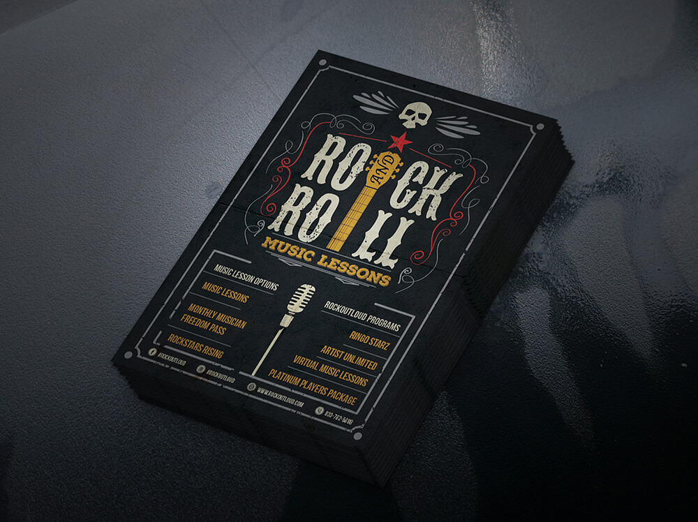 Rock Out Loud – Flyer design for popular Rock Music School